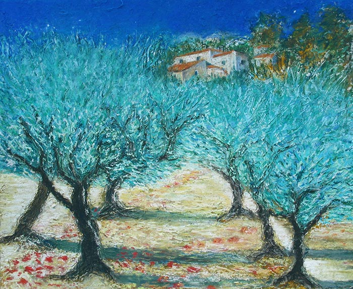 © Pierrick GIRAULT - Champ d'oliviers 40 x 50 cm